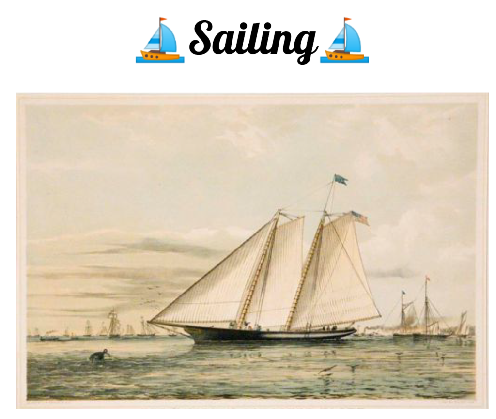 Cover of Sailing puzzle set depicting an old fashioned painting of a yacht